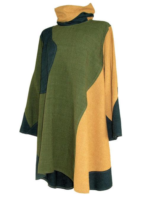 Unieke dames tuniek gemaakt van 3 kleuren wilde, matkazijde